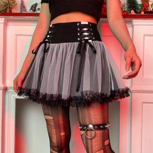 High Waist Lace-up Mini Skirt