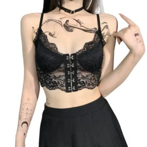 Black Lace Corset Crop Top