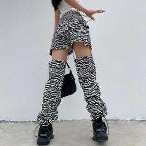 High Waist Zebra Print Trousers